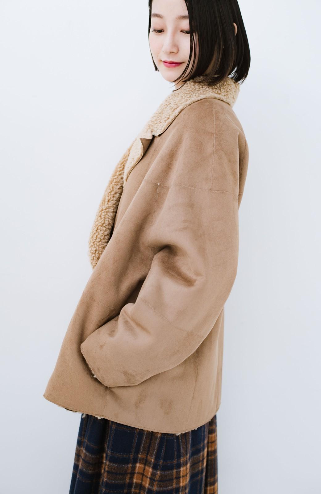 haco! 大きめ衿でこっそり華奢見せ あったかフェイクムートンコート <キャメル>の商品写真18