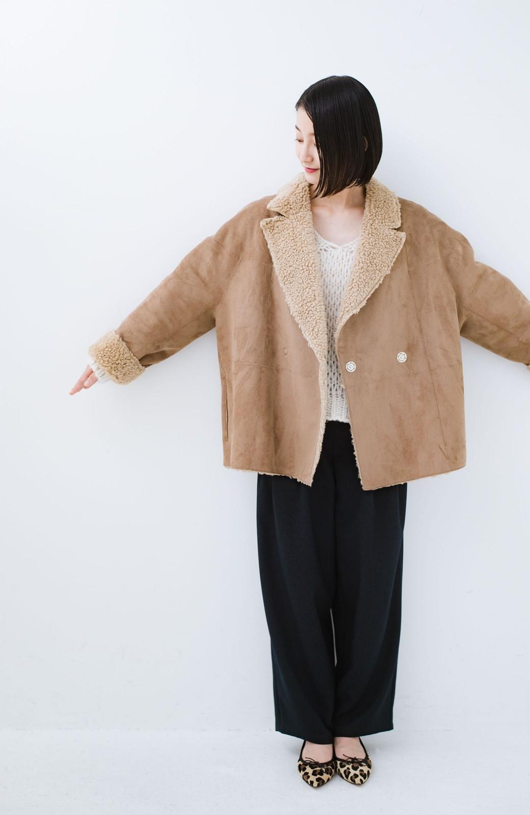 haco! 大きめ衿でこっそり華奢見せ あったかフェイクムートンコート <キャメル>の商品写真10