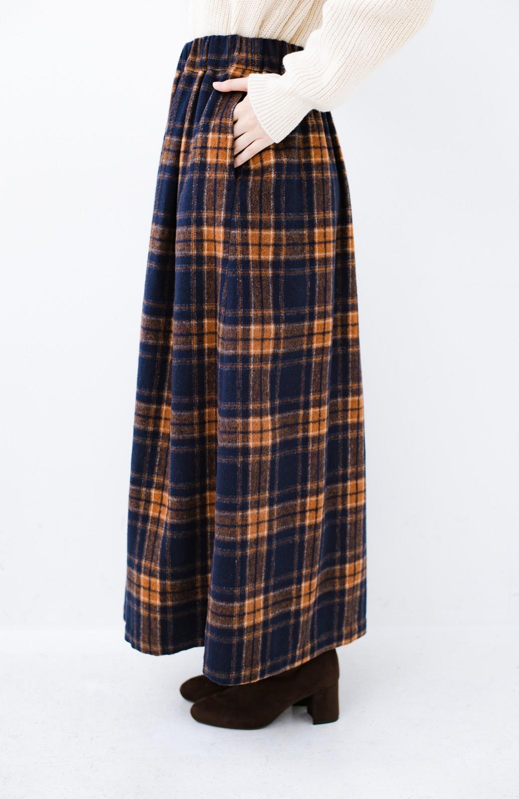 haco! ギリギリ女子のタイツなしでもいけるんちゃうか起毛チェックロングスカート <ネイビー>の商品写真4