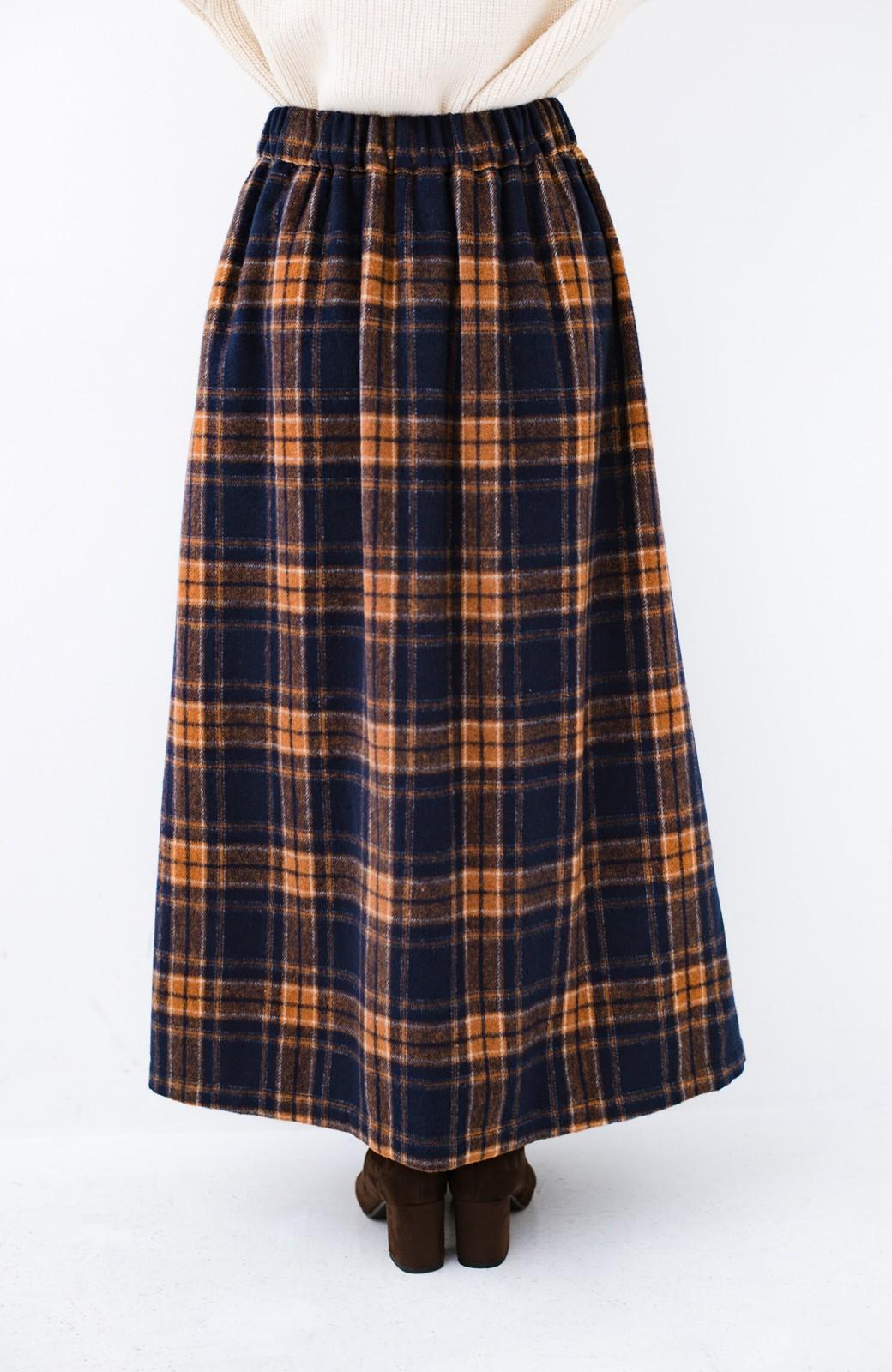 haco! ギリギリ女子のタイツなしでもいけるんちゃうか起毛チェックロングスカート <ネイビー>の商品写真5