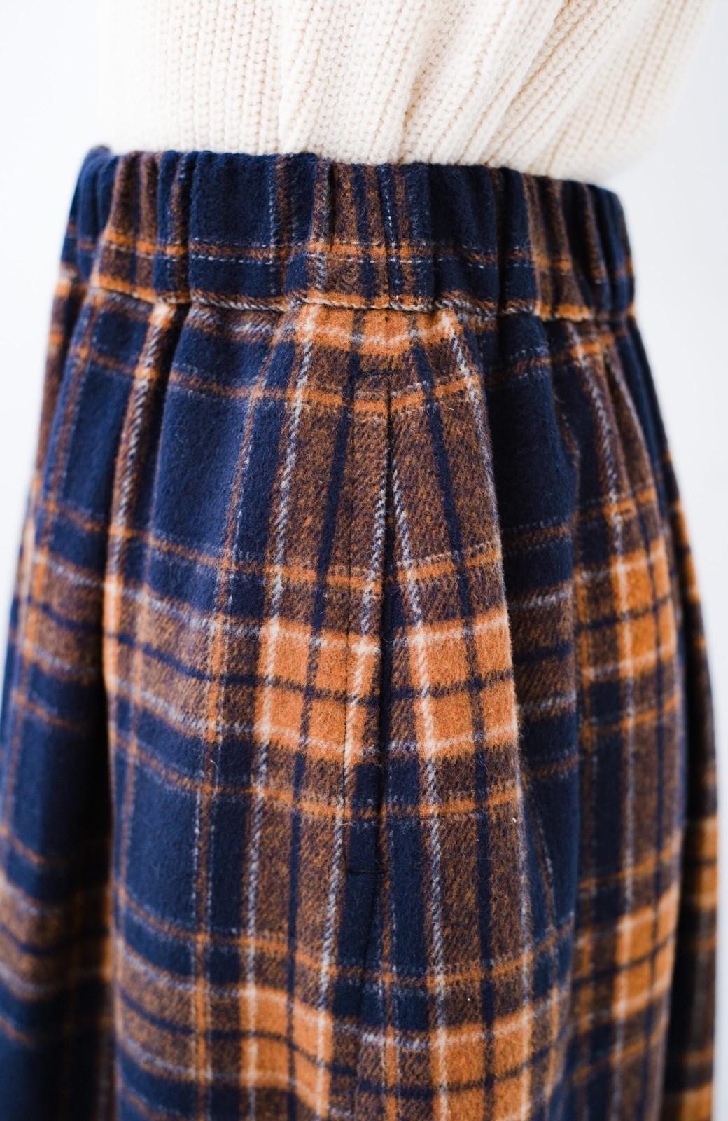 haco! ギリギリ女子のタイツなしでもいけるんちゃうか起毛チェックロングスカート <ネイビー>の商品写真7