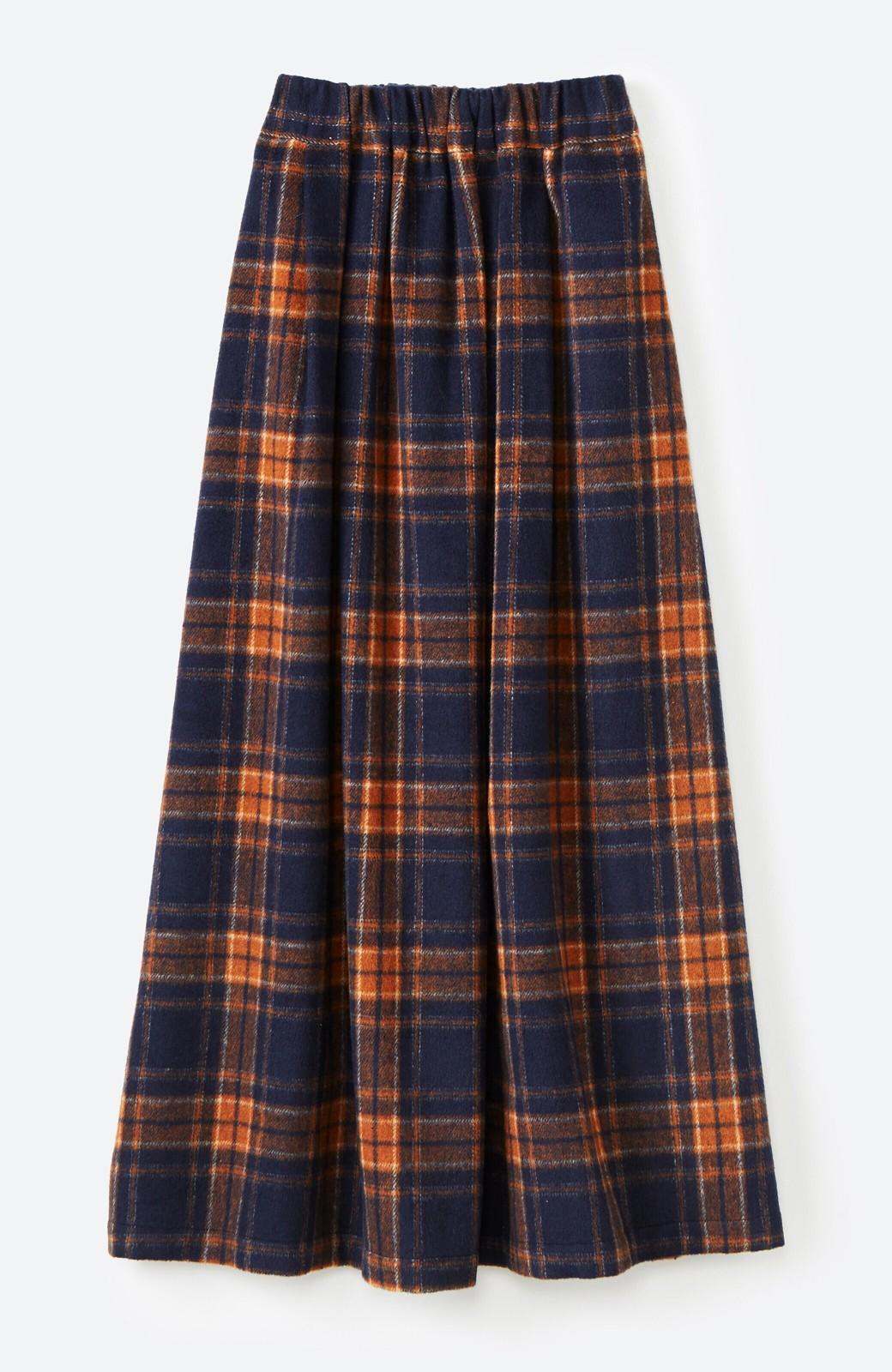 haco! ギリギリ女子のタイツなしでもいけるんちゃうか起毛チェックロングスカート <ネイビー>の商品写真2