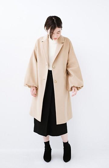 haco! ギリギリ女子の防寒で終わらず華やかにいけるんちゃうか 袖ぷっくりチェスターコート <ベージュ>の商品写真