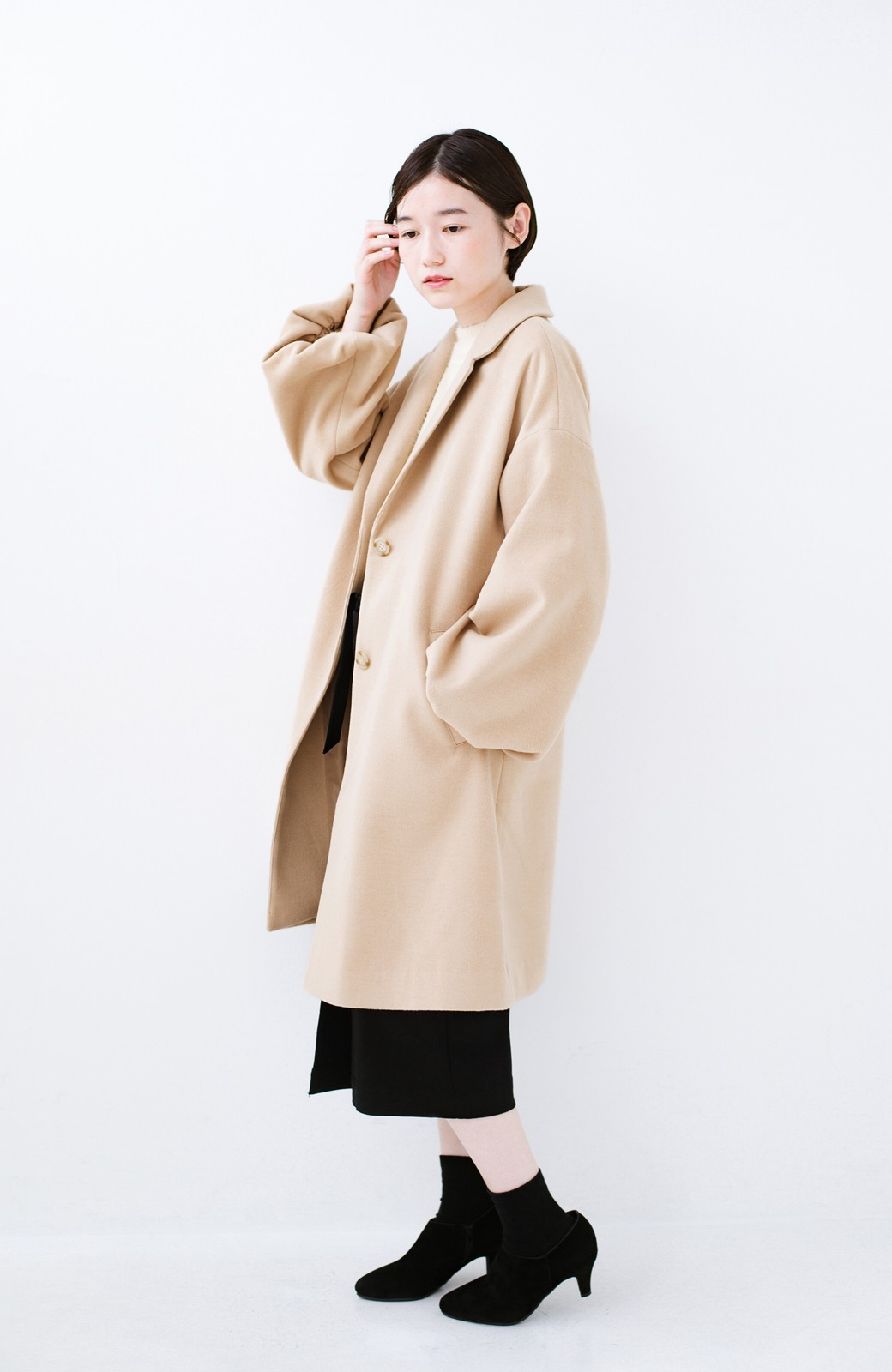haco! ギリギリ女子の防寒で終わらず華やかにいけるんちゃうか 袖ぷっくりチェスターコート <ベージュ>の商品写真12