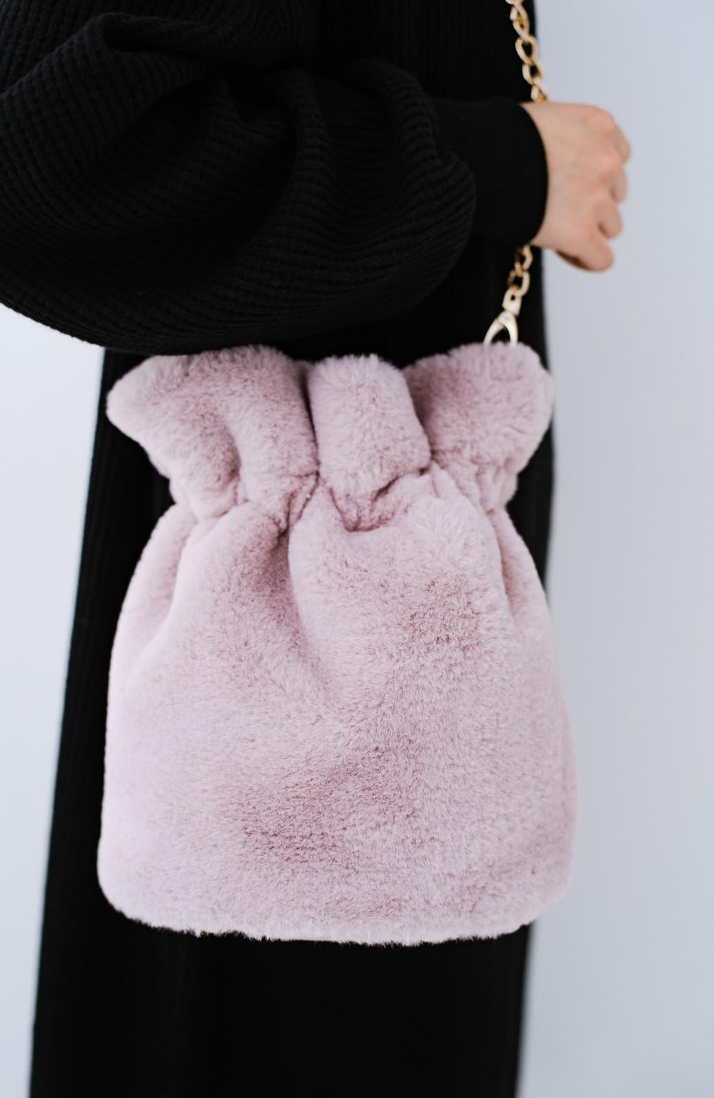 haco! パッと持って今気分!エコファー巾着バッグ <ピンク>の商品写真2