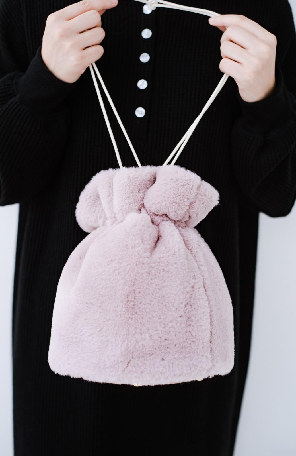 haco! パッと持って今気分!エコファー巾着バッグ <ピンク>の商品写真3