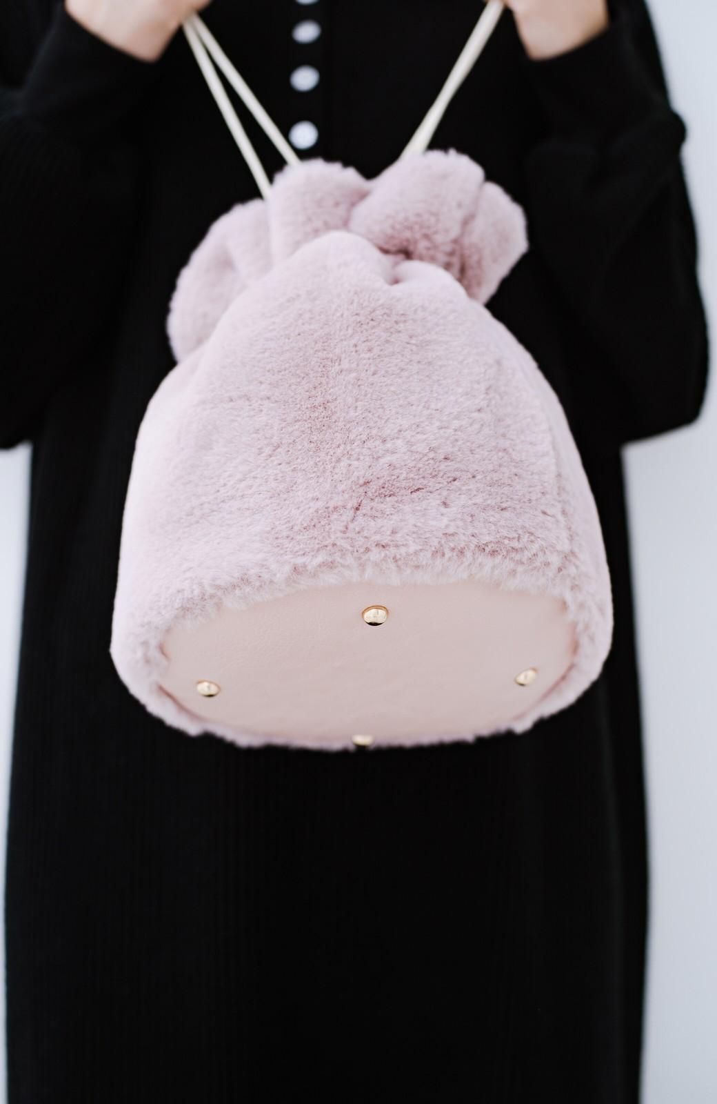 haco! パッと持って今気分!エコファー巾着バッグ <ピンク>の商品写真4