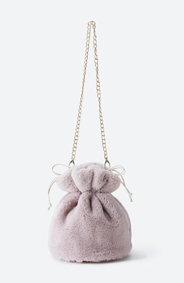 haco! パッと持って今気分!エコファー巾着バッグ <ピンク>の商品写真