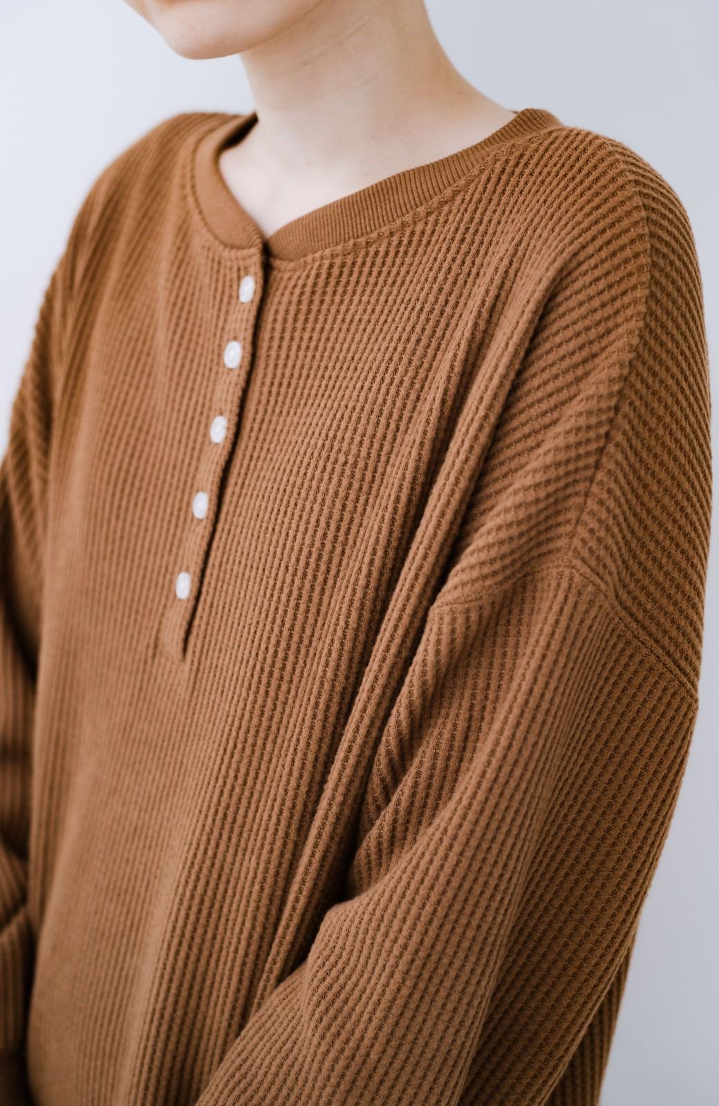 haco! 1枚で着ても重ね着しても楽しめる起毛ワッフルワンピース <キャメル>の商品写真4