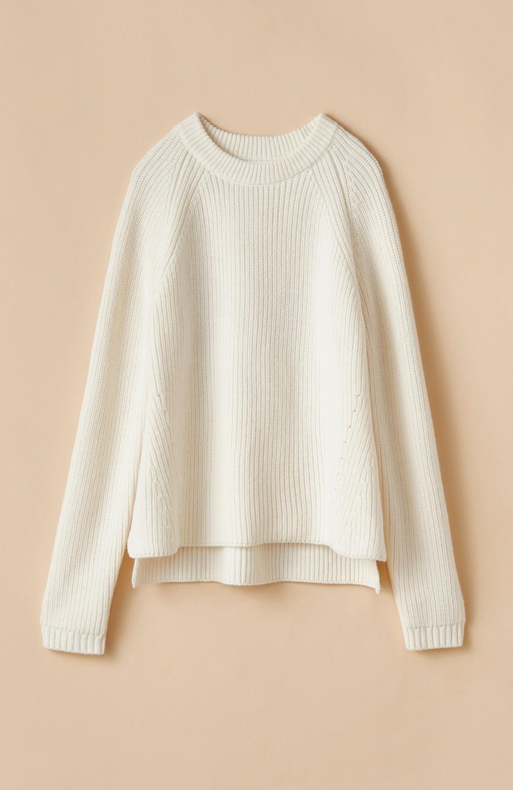 haco! パッと着るだけでバランスよく見える コンパクトシルエットの畦編みニット by que made me <ホワイト>の商品写真2