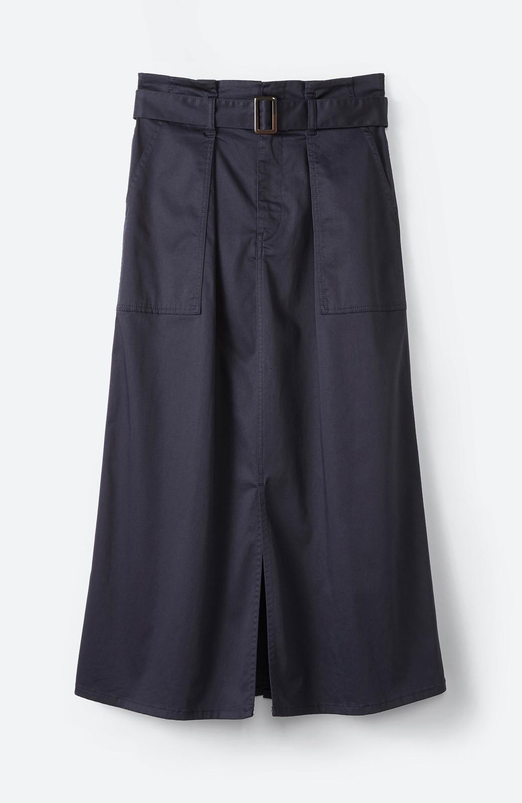 haco! ちょうどいい女っぽ感 下半身をすらっと見せるスリットロングスカート <ネイビー>の商品写真2