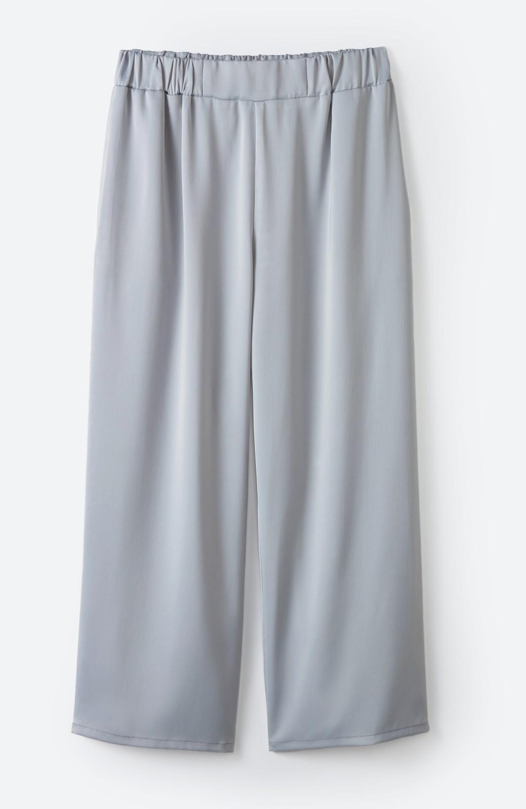 haco! パンツ派さんのデート着 プリーツスカート風にもなる華やかパンツセット <ライトブルーグレー>の商品写真4