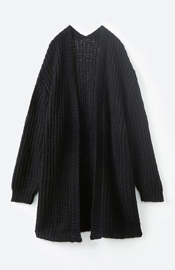 haco! ざっくり着るのがかわいいアウターのインナーにもなるニットカーディガン <ブラック>の商品写真