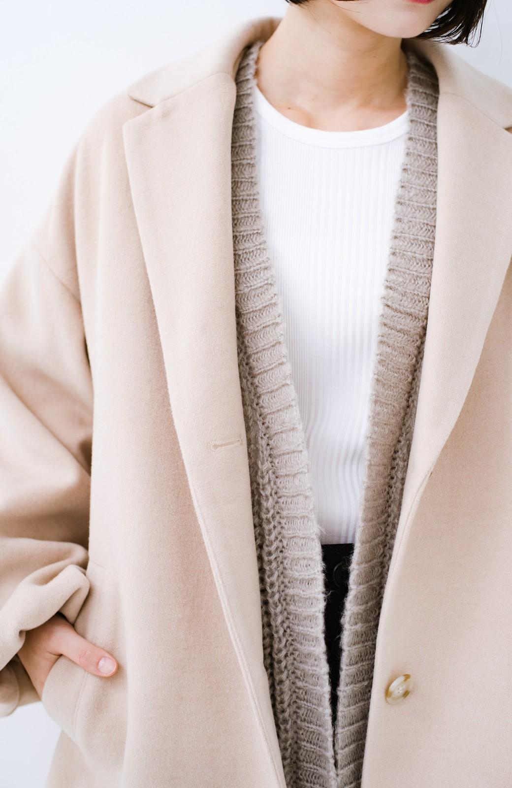 haco! ざっくり着るのがかわいいアウターのインナーにもなるニットカーディガン <グレイッシュベージュ>の商品写真7