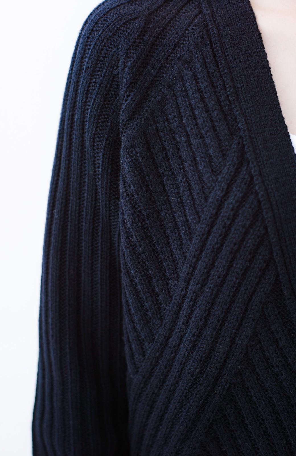 haco! 華が欲しい!というときに便利なゴールドボタン&かわり編みニットカーディガン <ネイビー>の商品写真5