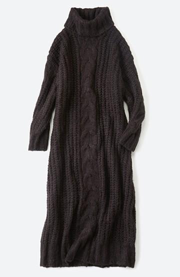 haco! パッと着て女っぽくなれる気がする ふんわり素材のケーブルニットワンピース <ブラック>の商品写真