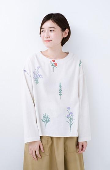 haco! LITTLE MARKET 野花柄の刺しゅう入りスリットプルオーバー <アイボリー>の商品写真