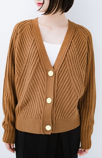 haco! 華が欲しい!というときに便利なゴールドボタン&かわり編みニットカーディガン <ブラウン>の商品写真