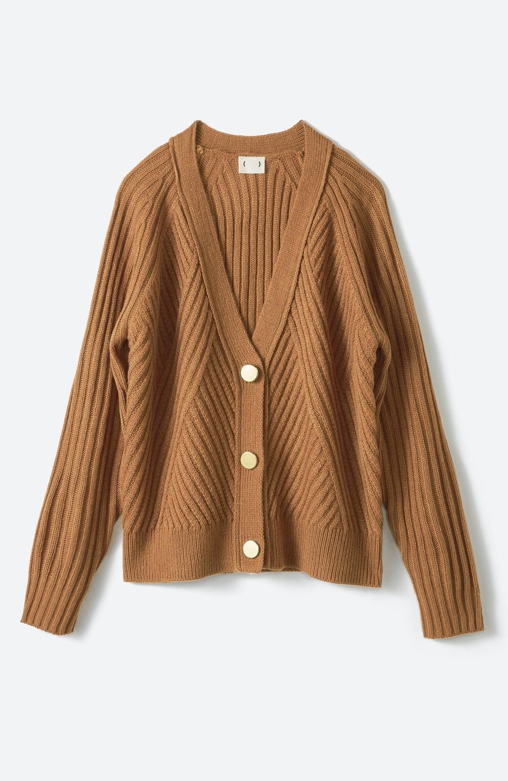 haco! 華が欲しい!というときに便利なゴールドボタン&かわり編みニットカーディガン <ブラウン>の商品写真2