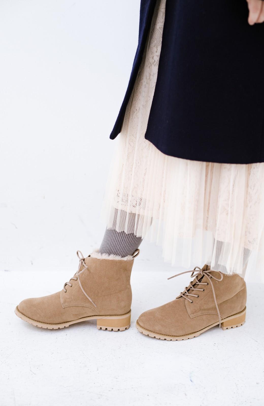 haco! あったか&かわいいを叶えてくれる ふわふわ編み上げブーツ <ベージュ>の商品写真11
