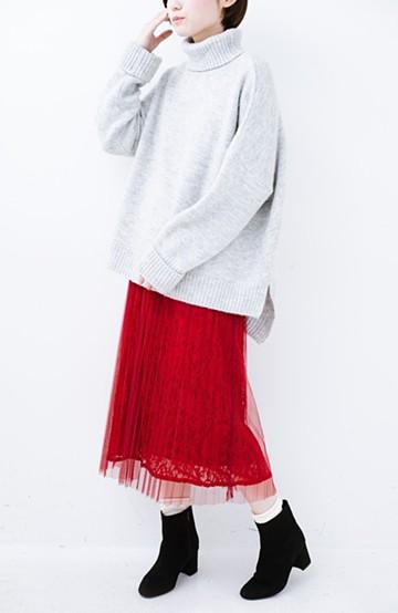 haco! 楽していることがばれない プリーツチュール&レースのスカート <レッド>の商品写真