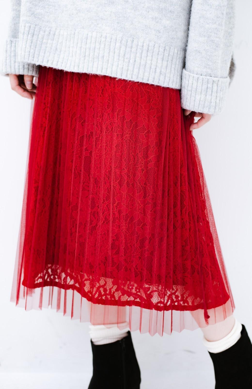 haco! 楽していることがばれない プリーツチュール&レースのスカート <レッド>の商品写真14