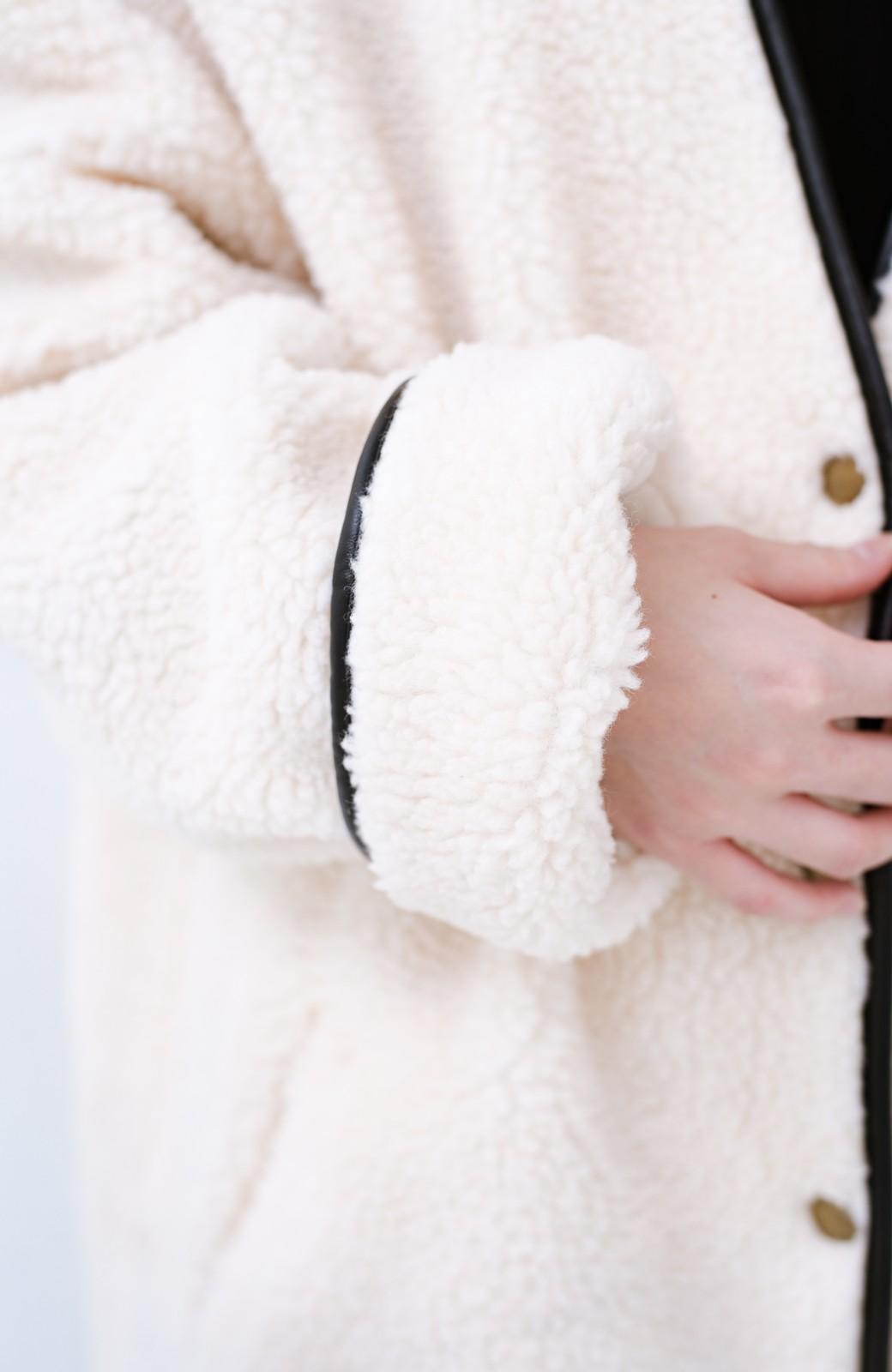 haco! パッと着てオシャレ&あったか なでなでしたくなるボアジャケット <アイボリー>の商品写真4