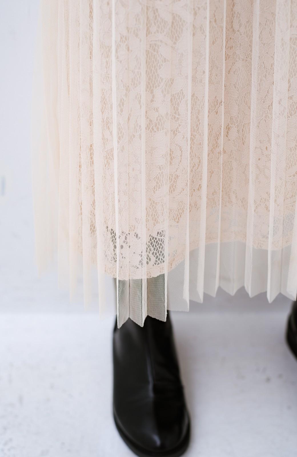 haco! 楽していることがばれない プリーツチュール&レースのスカート <アイボリー>の商品写真3