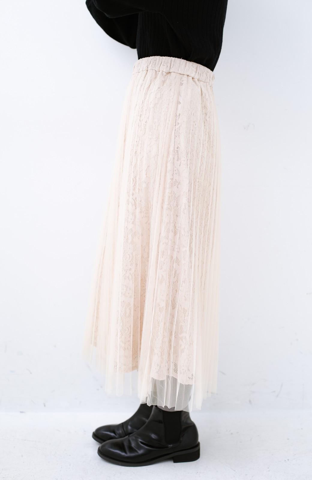 haco! 楽していることがばれない プリーツチュール&レースのスカート <アイボリー>の商品写真5