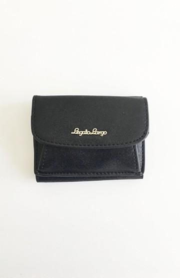 haco! Legato Largo シャイニーフェイクレザー 三つ折りミニ財布 <ブラック>の商品写真