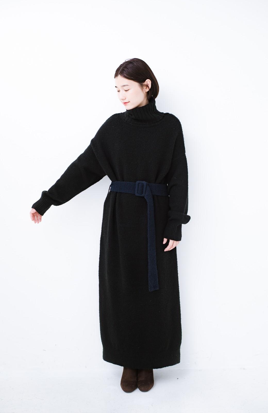 haco! <高橋愛さんコラボ>ラブ&ピースプロジェクト 配色ベルトのタートルニットロングワンピース <ブラック>の商品写真10