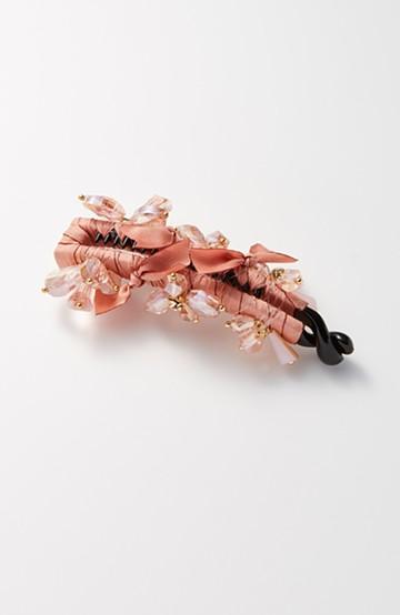 haco! 結婚式にも使える!これひとつで一気に華やかになるリボン&ビジュークロスクリップ <ピンク>の商品写真