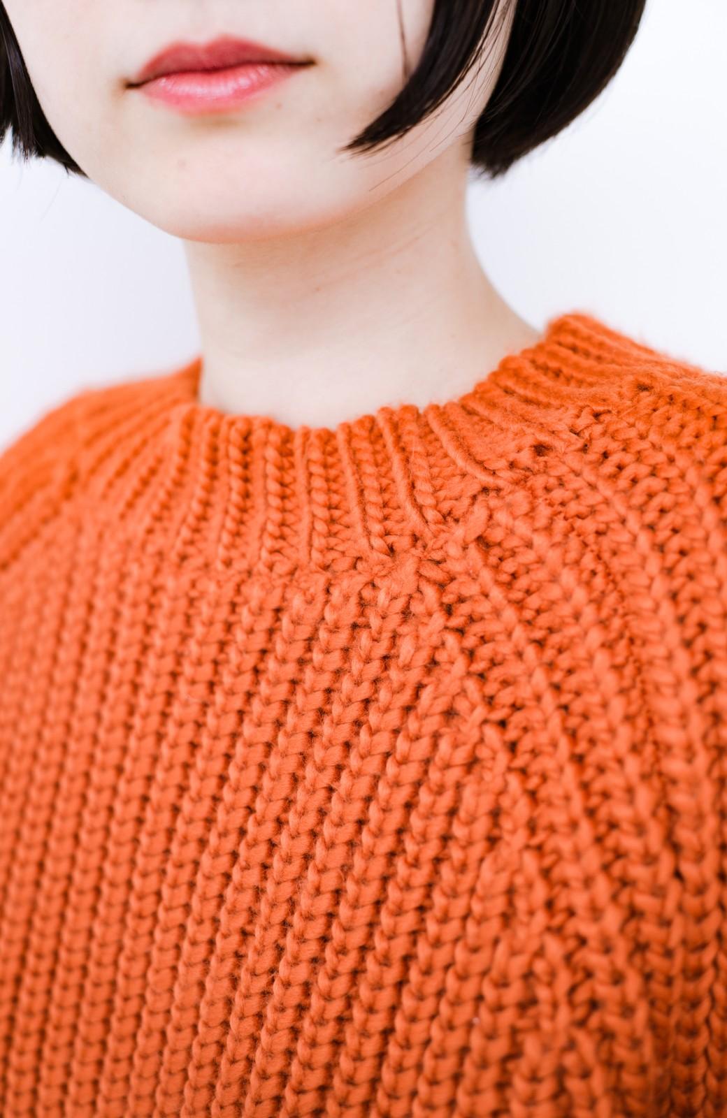 haco! <スザンヌさんコラボ>ラブ&ピースプロジェクト 袖リボンポイントの片畦編みニットトップス <オレンジ>の商品写真12