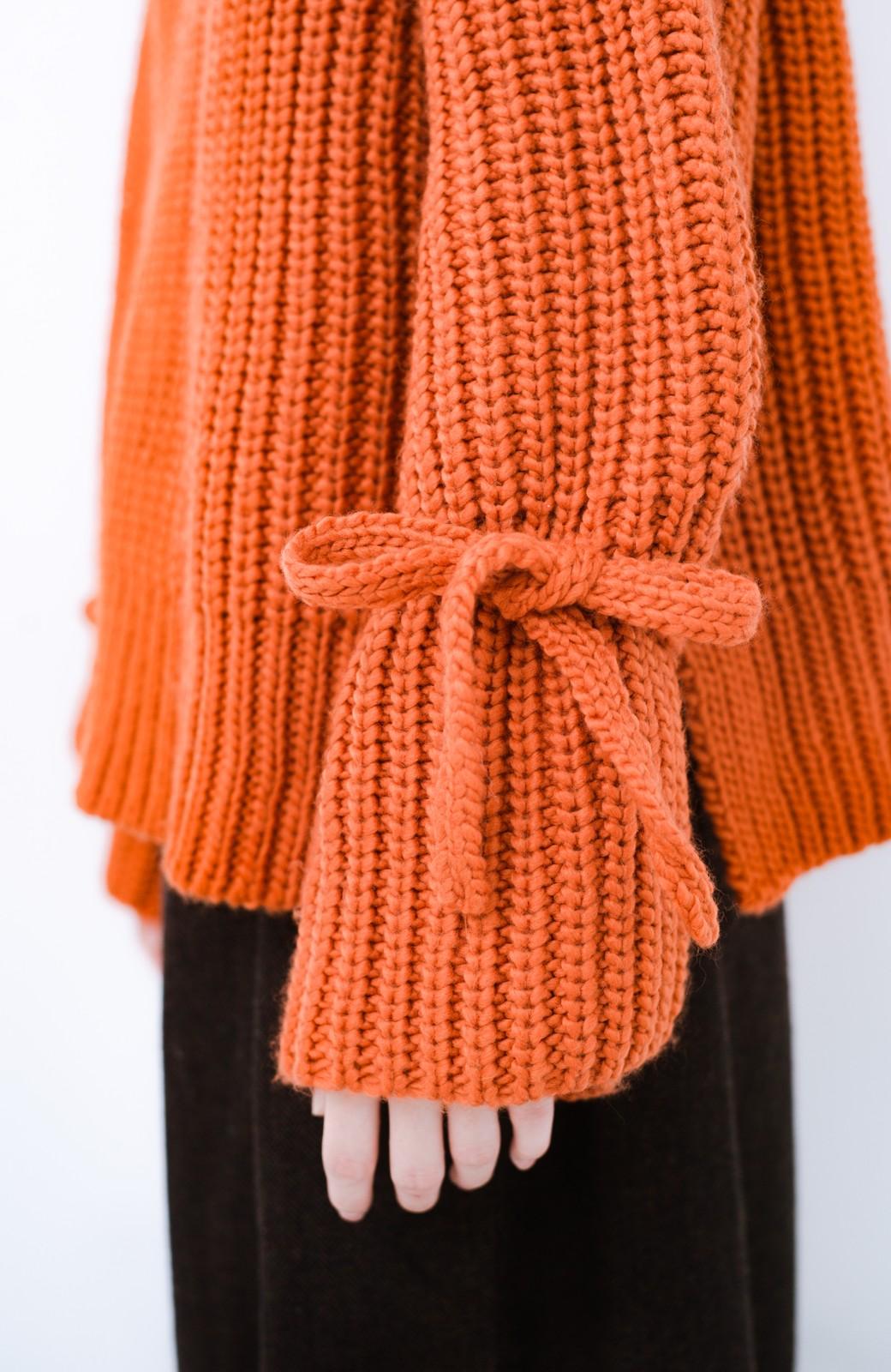 haco! <スザンヌさんコラボ>ラブ&ピースプロジェクト 袖リボンポイントの片畦編みニットトップス <オレンジ>の商品写真13