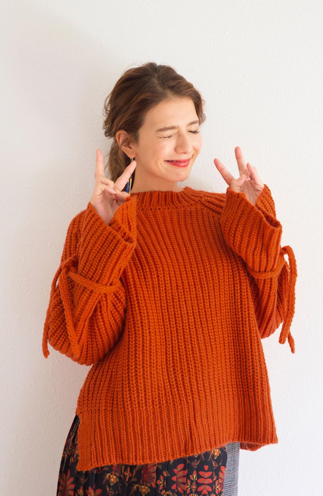 haco! <スザンヌさんコラボ>ラブ&ピースプロジェクト 袖リボンポイントの片畦編みニットトップス <オレンジ>の商品写真5