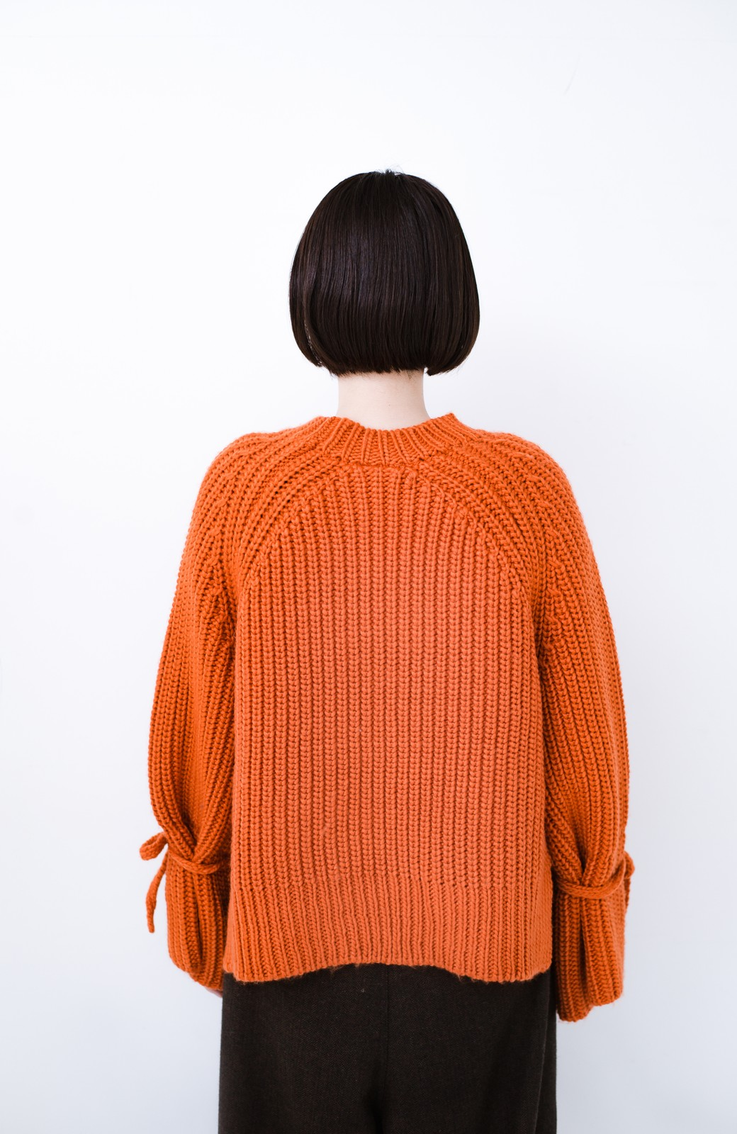 haco! <スザンヌさんコラボ>ラブ&ピースプロジェクト 袖リボンポイントの片畦編みニットトップス <オレンジ>の商品写真21