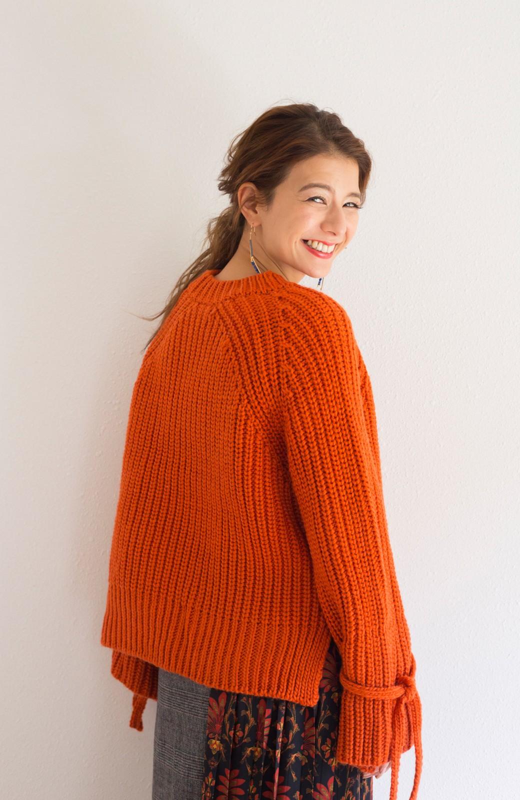 haco! <スザンヌさんコラボ>ラブ&ピースプロジェクト 袖リボンポイントの片畦編みニットトップス <オレンジ>の商品写真10