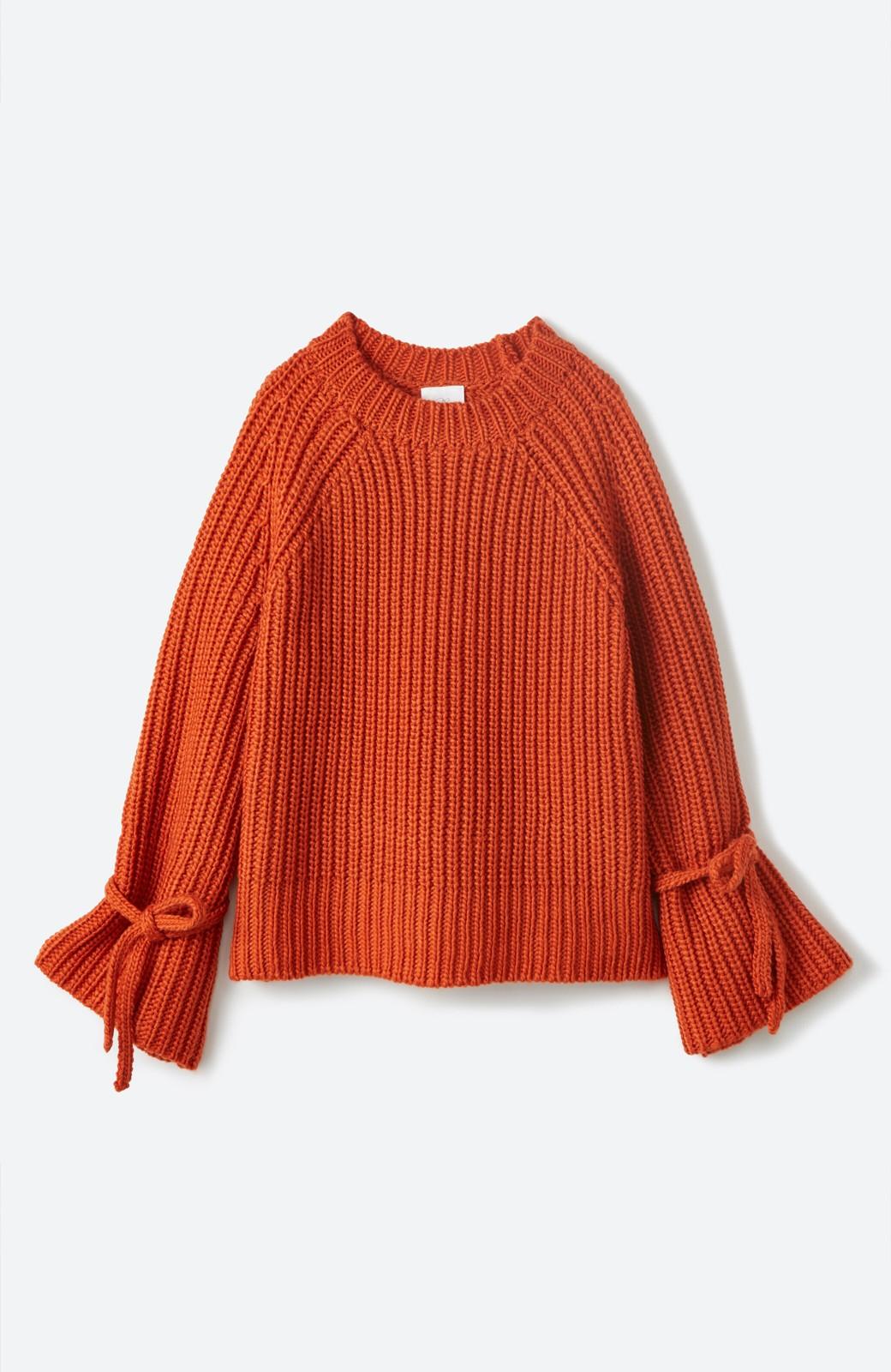 haco! <スザンヌさんコラボ>ラブ&ピースプロジェクト 袖リボンポイントの片畦編みニットトップス <オレンジ>の商品写真3