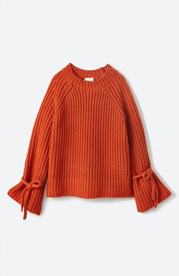 haco! <スザンヌさんコラボ>ラブ&ピースプロジェクト 袖リボンポイントの片畦編みニットトップス <オレンジ>の商品写真