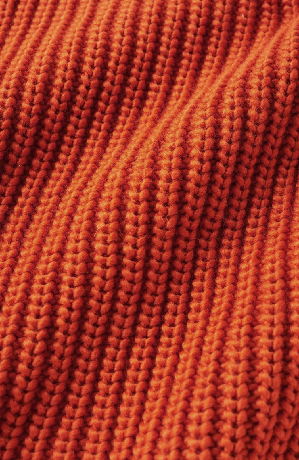 haco! <スザンヌさんコラボ>ラブ&ピースプロジェクト 袖リボンポイントの片畦編みニットトップス <オレンジ>の商品写真4