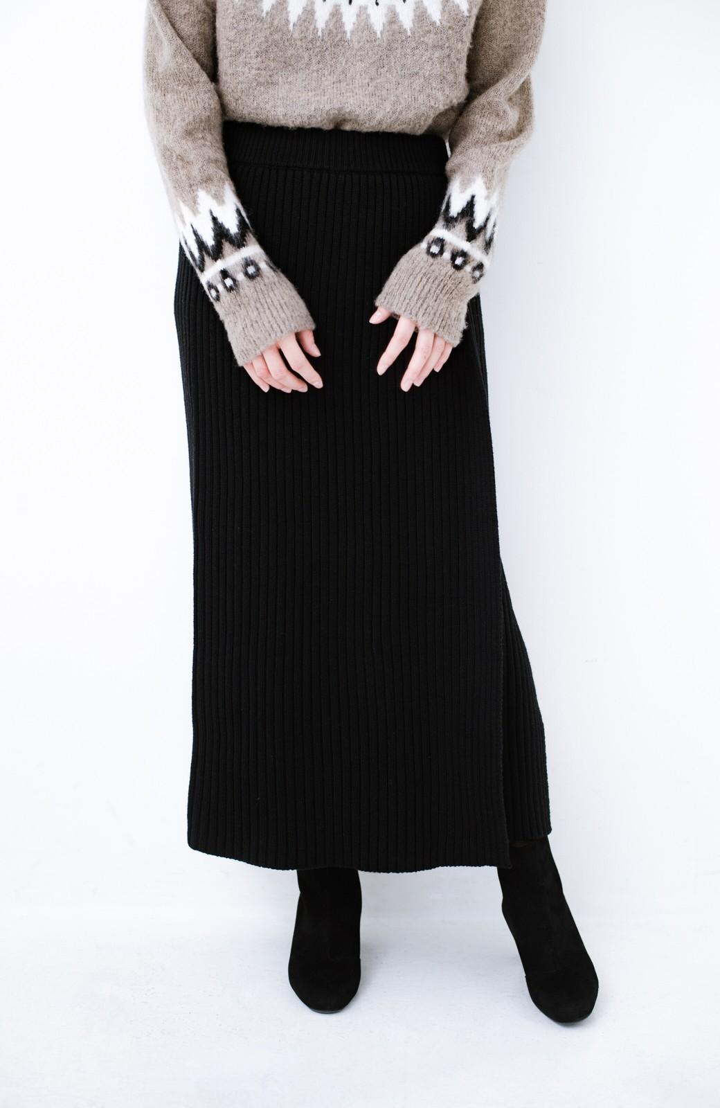haco! カジュアルに合わせてもオンナっぽさを忘れないロングニットスカート by MAKORI <ブラック>の商品写真4