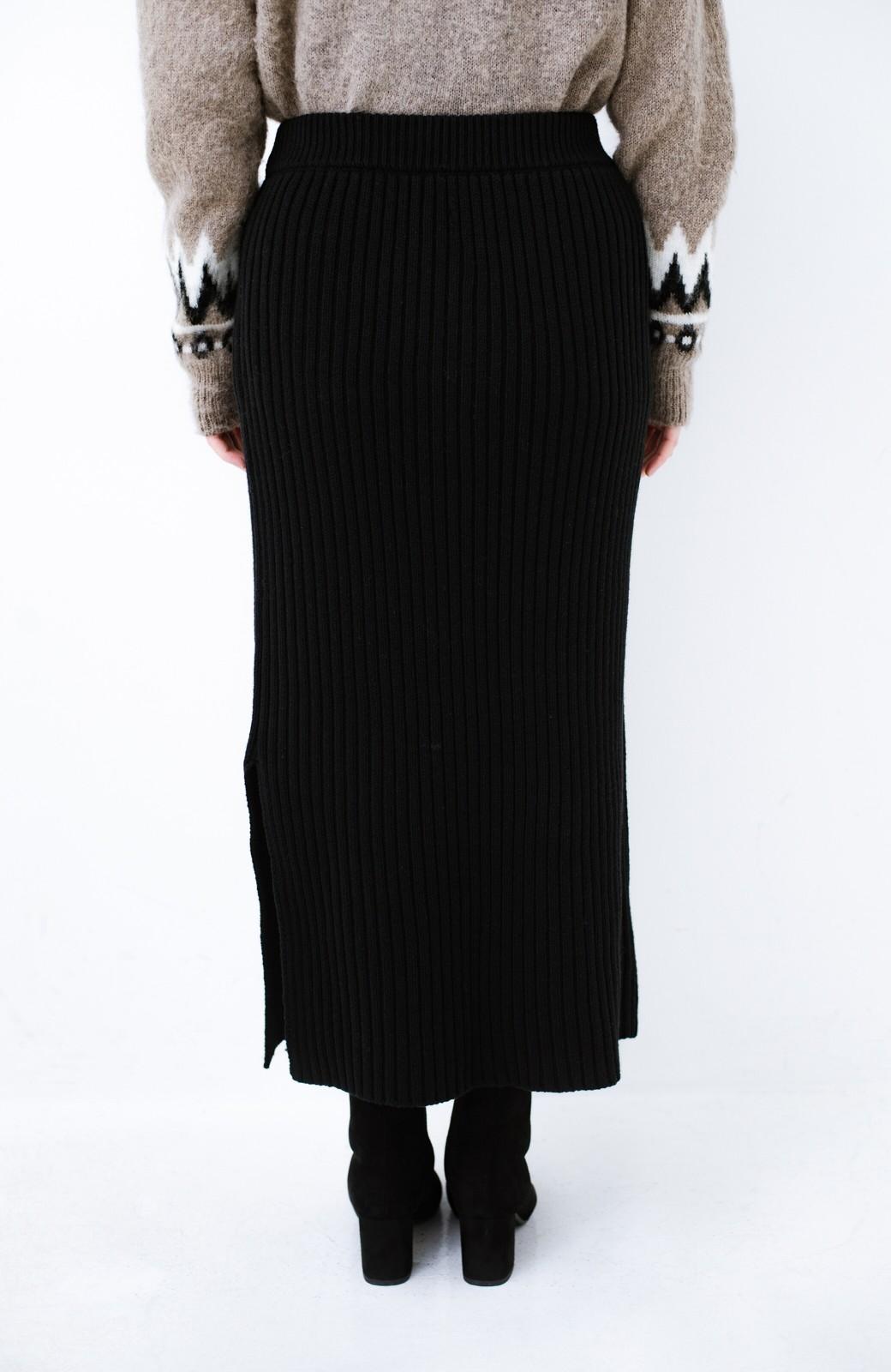 haco! カジュアルに合わせてもオンナっぽさを忘れないロングニットスカート by MAKORI <ブラック>の商品写真5