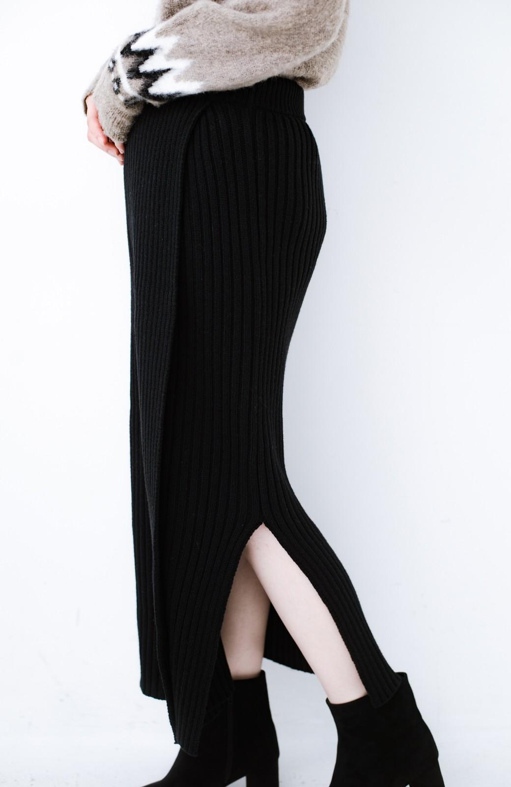 haco! カジュアルに合わせてもオンナっぽさを忘れないロングニットスカート by MAKORI <ブラック>の商品写真6