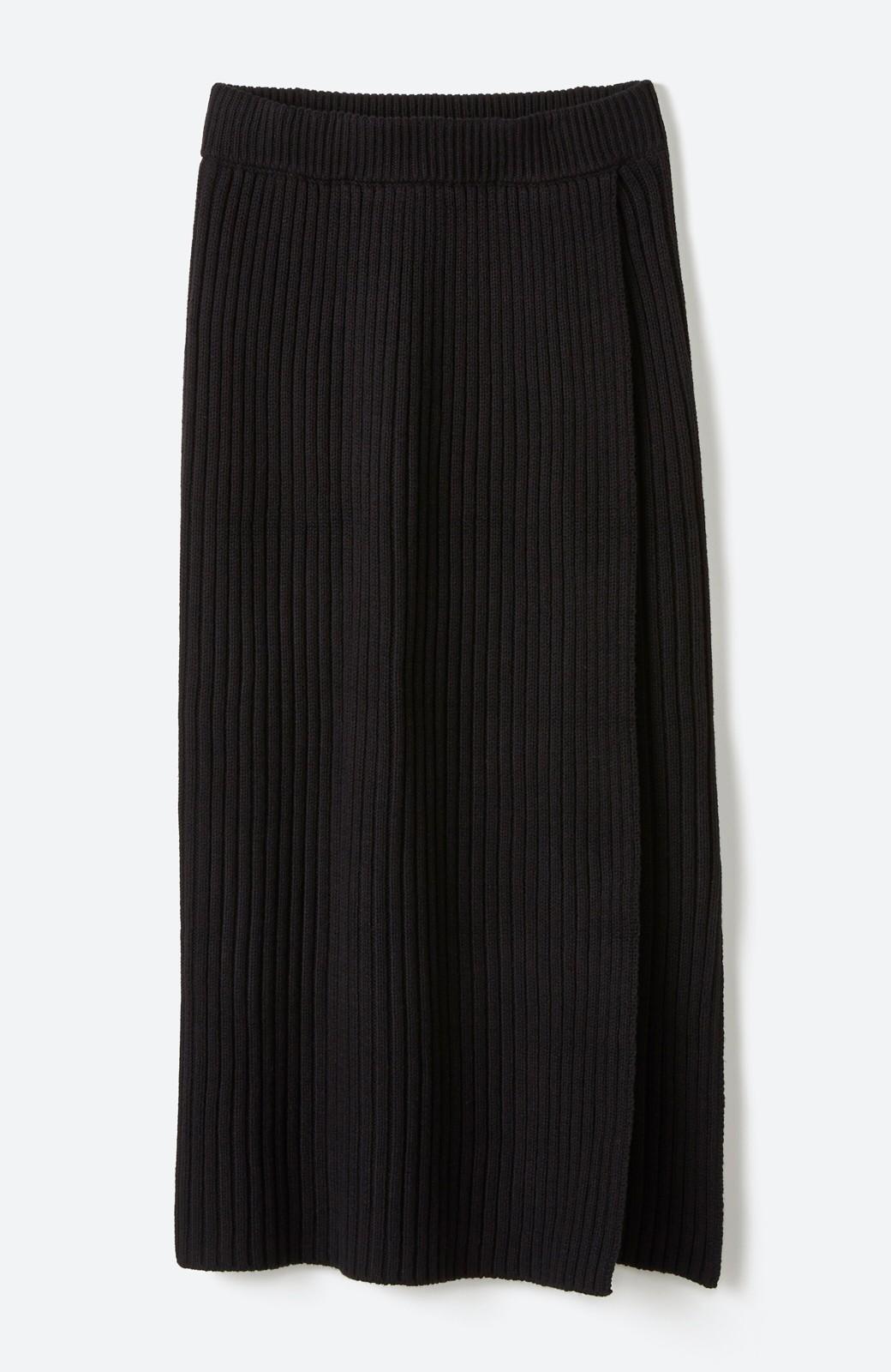 haco! カジュアルに合わせてもオンナっぽさを忘れないロングニットスカート by MAKORI <ブラック>の商品写真2