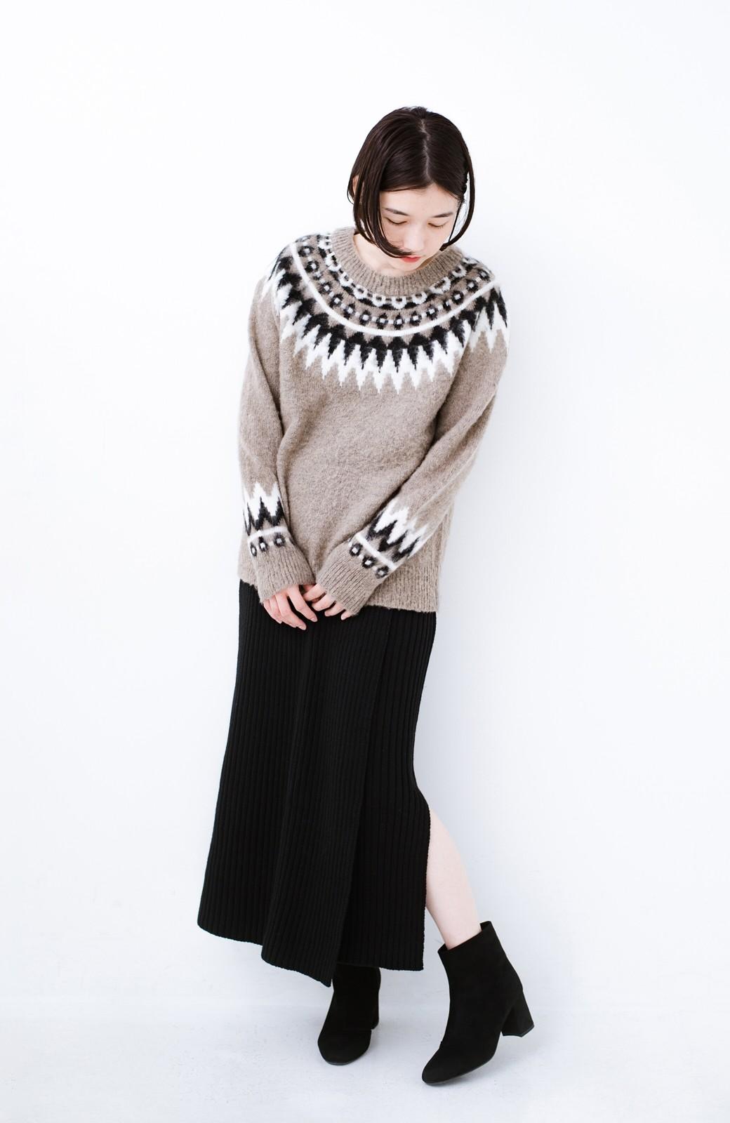 haco! カジュアルに合わせてもオンナっぽさを忘れないロングニットスカート by MAKORI <ブラック>の商品写真9