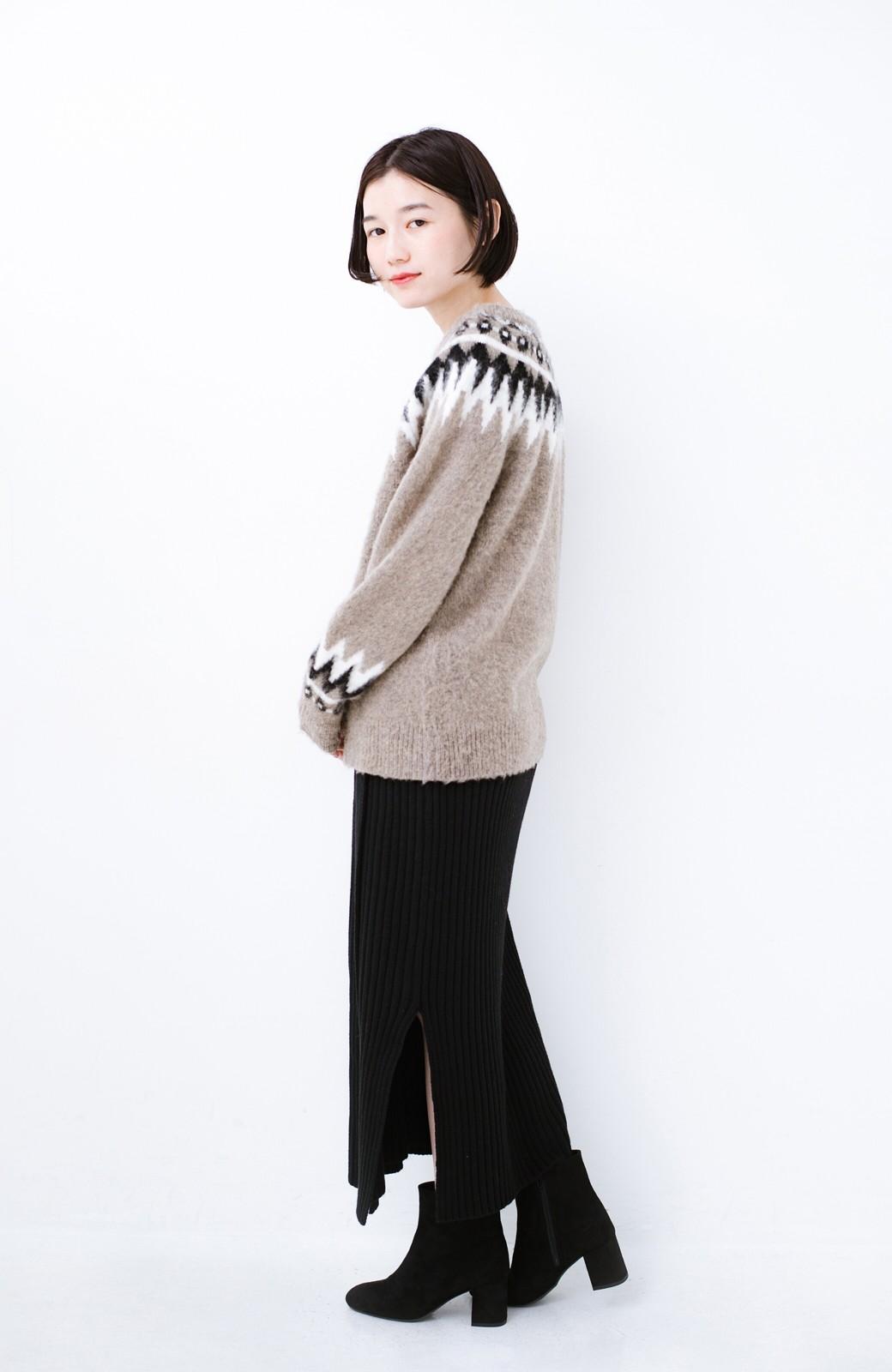 haco! カジュアルに合わせてもオンナっぽさを忘れないロングニットスカート by MAKORI <ブラック>の商品写真10