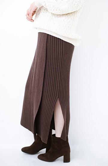 haco! カジュアルに合わせてもオンナっぽさを忘れないロングニットスカート by MAKORI <ブラウン>の商品写真