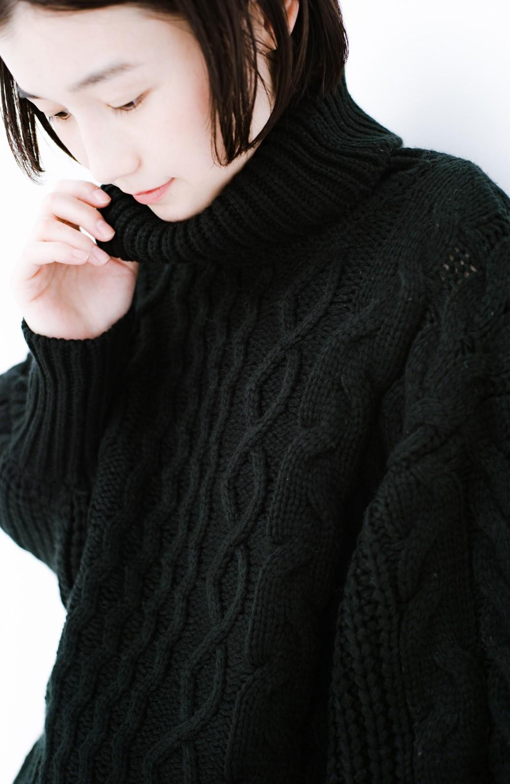 haco! 着るだけで完成するケーブル編みニットセットアップ <ブラック>の商品写真5