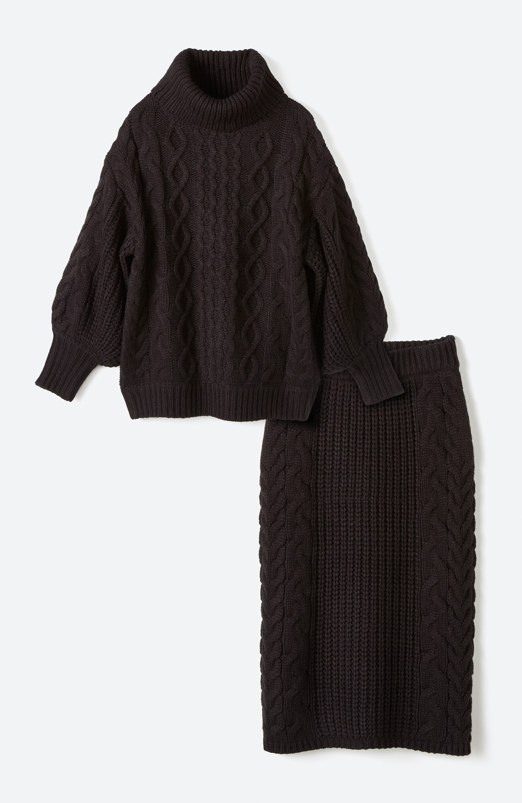 haco! 着るだけで完成するケーブル編みニットセットアップ <ブラック>の商品写真1