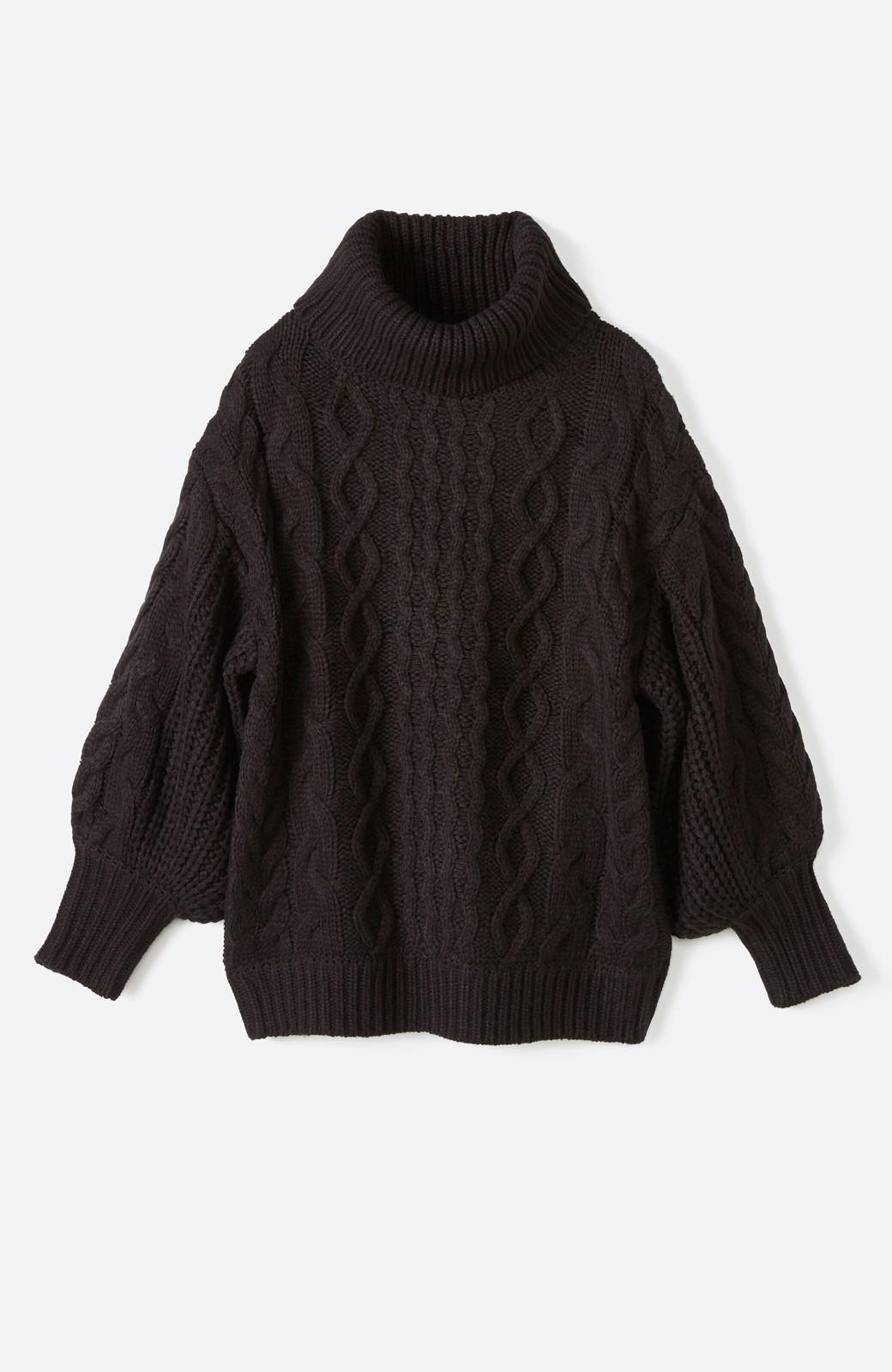 haco! 着るだけで完成するケーブル編みニットセットアップ <ブラック>の商品写真2
